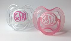 Monogrammed Pacifiers by Pottergentrydesigns on Etsy https://www.etsy.com/listing/158257322/monogrammed-pacifiers