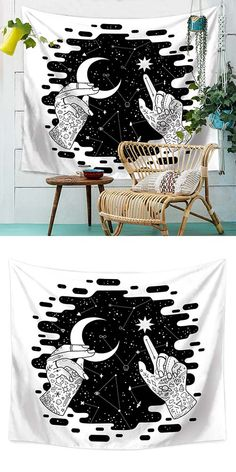 Black And White Starry Luna Wall Tapestry Space Tapestry, Tapestry Bedroom, Bedroom Murals, Tapestry Design, Bedroom Decor, Tapestry Wall, Colorful Tapestry, Boho Dorm Room, Teen Room Decor