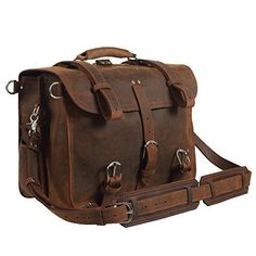 9ae6bea2ea0d Texbo Real Thick Cowhide Leather Mens Shoulder Briefcase Fit 17 Laptop Bag  Tote