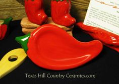 Sizzling Red Chili Pepper Ceramic Spoon Rest or by TexasCeramics, $15.50
