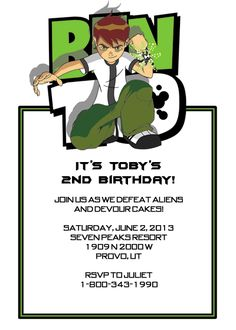 Ben 10 Birthday Party Invitation http://printableinvitationkits.com/ben-10-party-invitation/