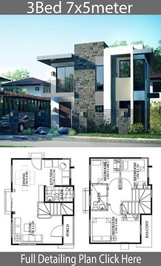 Small house design - Small Home design plan with 3 Bedrooms – Small house design House Layout Plans, Duplex House Plans, Bedroom House Plans, Modern House Plans, Small House Plans, House Layouts, 2 Storey House Design, Bungalow House Design, House Front Design