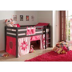 lit cabane pour les petits lit cabane surelev avec habillage tissu pour enfant 4 ans 5 ans 6. Black Bedroom Furniture Sets. Home Design Ideas