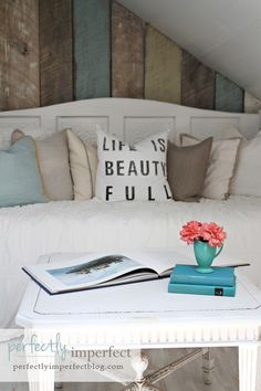 I want this wood wall!!! Also going to make that pillow!! These are my colors blue, yellow, taupe, white and black TEXT accents!!! I love FONTS!!!