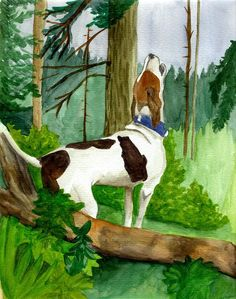 Treeing Walker Coonhound Dog  Painting by Olde Time  Mercantile