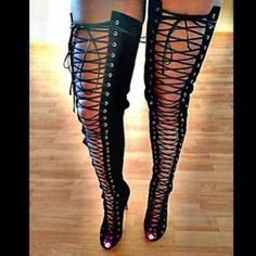Lace Up Thigh High Boot #laceupheels #thighhighs #fallshoes Thigh High Heels, Sexy High Heels, Suede Boots, Heeled Boots, High Heel Boots, Gladiator Sandals, Shoes Sandals, High Knees, Shoe Boutique