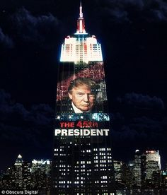 President Elect Donald Trump is pictured named as the winner of the 2016 presidential election.