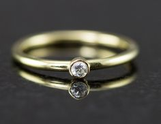 Petite Diamond Engagement Ring - 14k Yellow, White or Rose Gold -White - All Wired Up Jewelry Designs