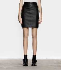 AllSaints Lucille Leather Skirt, $318