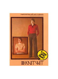 Knitwit 9200 Mens' Knit Top with Ribbed Trim and Tab Front Placket Designs, Uncut, Factory Folded Sewing Pattern Multi Size See Picture, Sewing Patterns, Knitting, Tops, Design, Tricot, Breien, Stricken, Weaving