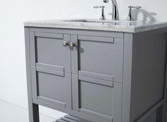 Virtu USA - ES-30030-WMSQ-GR - Winterfell 30 in. Bathroom Vanity Set Close up Detail Marble Vanity Tops, Marble Top, White Marble, 30 Inch Bathroom Vanity, Square Sink, Base Cabinets, Bath Vanities, Classic Elegance, 30 And Single