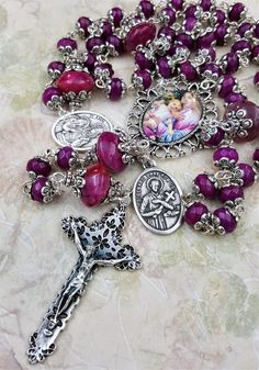 St Anne St Gerard Pregnancy Healthy Childbirth,Love,Happiness,Health magenta Handcrafted Artisan Gemstone Rosary