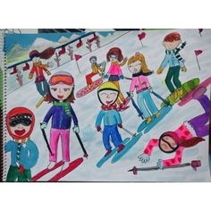 자동 대체 텍스트를 사용할 수 없습니다. Painting For Kids, Drawing For Kids, Art For Kids, Winter Jokes, Kindergarten Art, Winter Art, Easy Paintings, Winter Sports, Elementary Art