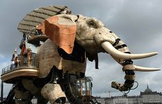 The Elephant at the Machines of the Isle of Nantes (France), a crazy steampunk environment along the docks of Nantes.