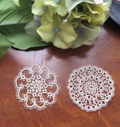 Antique Handmade Tatted Tatting Round Lace Trim Appliques 2