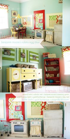 This is my favorite playroom thus far.  Love the colors & that painted yellow buffet...swoon.
