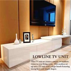 new Lowline TV Stand Entertainment Unit Cabinet Drawer in high gloss white 3.25m in Home & Garden | eBay
