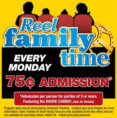 75 cent movies on Monday for parties of 3 or more - at Cinemark locations all over the country.