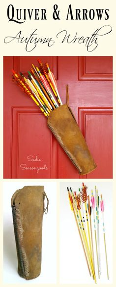"""Break the traditional wreath routine this Fall by using a gorgeous vintage leather quiver filled with colorful old wooden arrows! What a wonderful way to evoke the harvest feelings associated with autumn...it makes for lovely, unique door decor and doesn't require any """"crafting"""" at all! Easy, beautiful, and unusual repurpose upcycle by #SadieSSeasongoods / www.sadieseasongoods.com"""