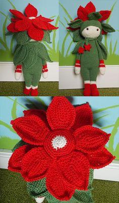 Christmas Star Kris flower doll made by Gabriella H - crochet pattern by Zabbez