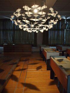 hiroki takada: origami crane chandelier of prayer