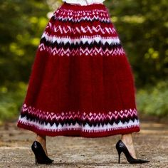 Hand knitted mohair skirt in Icelandic pattern, one size