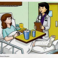 Show me the doctor. What do you think happened to the woman's leg? Social Skills Activities, Speech Therapy Activities, Drawing School, Drawing For Kids, Visualizing And Verbalizing, Sequencing Pictures, Aphasia, Medical Symbols, Picture Story