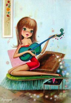 postcard girl with guitar drawing, illus Vintage Botanical Prints, Vintage Prints, Vintage Greeting Cards, Vintage Postcards, Decoupage, Guitar Drawing, Retro Illustration, Vintage Illustrations, Vintage Comics