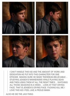 Watched 5 seasons of Supernatural for one episode<---he is definitely my favorite young dean.