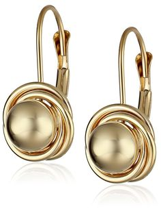 14k Yellow Gold Ball with Three Ring Earrings