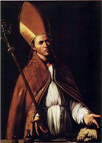 Saint Januarius - San Jenaro (¿?- 305) (en latín: Januarius).Festividad 19 de Septiembre.  Atributos: Palma del maritirio, cápsulas de sangre, vestido episcopal. Patronazgo: bancos de sangre, hematólogos.