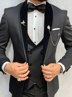 Acacia Black Slim Fit Velvet Shawl Collar Tuxedo – No-Gender Slim Fit Tuxedo, Tuxedo Suit, Tuxedo For Men, Groom Tuxedo, Tuxedo Dress, Costume Garçon, Mode Costume, Costumes, Wedding Dress Men