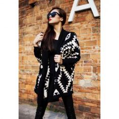 Modern Style Abstract Pattern Batwing Sleeve Knit Cardigan For Women (BLACK,ONE SIZE) China Wholesale - Sammydress.com