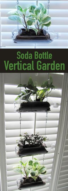 Bottle Vertical Garden (for Indoors or Out!) Introduce a cheap and cheerful hanging system to brighten up your indoor space with plants!Introduce a cheap and cheerful hanging system to brighten up your indoor space with plants! Garden Ideas Diy Cheap, Diy Garden, Shade Garden, Garden Kids, Diy Ideas, Plastic Bottle Planter, Plastic Bottle Crafts, Plastic Bottles, Backyard Garden Landscape