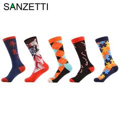 Delicious 1 Pair Male Cotton Socks Colorful Striped Jacquard Art Socks Multi Pattern Long Happy Funny Skateboard Socks Mens Dress Sock Street Price Underwear & Sleepwears