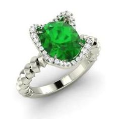 Emerald and Diamond Sidestone Ring in 14k White Gold (1.87 ct.tw.) - Lace