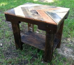 Chevron style end table made from reclaimed pallet wood and driftwood.   ~$175   Check out my webpage: Facebook.com/DriftDesignsByParker