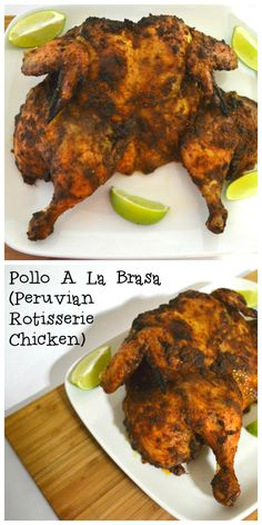 This tender, juicy chicken is rubbed with a delicious adobe colored marinade jam packed with smoky cumin and earthy paprika before roasting in the oven.  Vinegar and white wine add a bit of tang to the marinade, and imparts a one of a kind flavor to this chicken.  http://delishdlites.com/chicken-recipes/pollo-a-la-brasa-peruvian-rotisserie-chicken-recipe/
