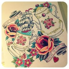 Tattoo flash - lots of stuff on it. Tea jug and a cup with a ship sailing in it. Some roses and other flowers. #tattoo #tattoos #ink #inked