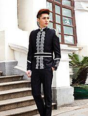 Black Print Slim Fit Tuxedo In Polyester – USD $ 114.99