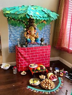 Ganpati Decoration Design, Mandir Decoration, Ganapati Decoration, Diwali Decorations At Home, Festival Decorations, Flower Decorations, Diy Crafts For Gifts, Diy Arts And Crafts, Pongal Celebration