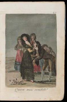 "Quien mas rendido? (Which of them is the more overcome?); Plate 27 bound into ""Los Caprichos""   Museum of Fine Arts, Boston"
