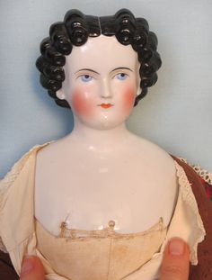 Antique German China Head Lady with Black Finger Curls from abigailsattic on Ruby Lane