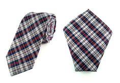 Mens 6cm Navy Blue Maroon White Plaids Skinny Tie with Pocket Square.
