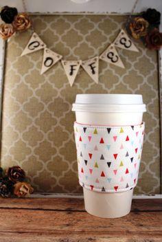 Mini Arrows Coffee Cozy - Arrows Coffee Cozy - Coffee Cozy - Fabric Coffee Cozy - Tea Cozy by SewLoveToSew on Etsy