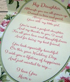 MOTHER OF THE BRIDE - GIFT FOR DAUGHTER - Sentiments Gift / Card - Wedding Day