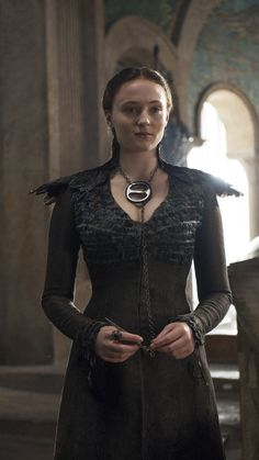 """Sansa Stark's striking look during Season 4;  """"All of the fashion, the hairstyles, especially with Sansa, it reflects her influences over the seasons and who her loyalties lie with,"""" Sophie Turner, who plays Sansa, told USA TODAY."""