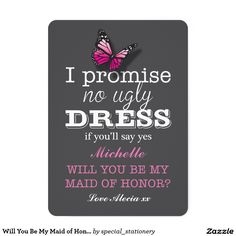 Will You Be My Maid of Honour Pink Butterfly 13 Cm X 18 Cm Invitation Card