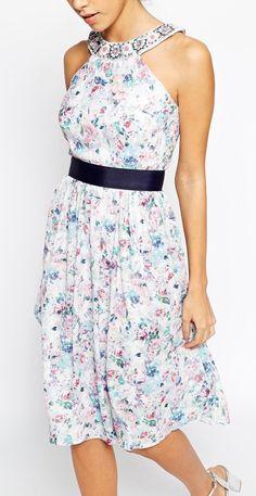 Elise Ryan floral halter neck embellished dress