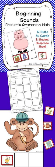 """This """"Beginning Sounds Phonemic Awareness Mats"""" pack includes 12 large mats with beautiful clipart from wonderful artists. Each mat has 3 matching cards that begin with the same sound. There are 2 sets of matching sound cards. One set only has only the picture and the other set has the picture and includes the word in tiny, very tiny text on the bottom right hand corner. You can use the one you think is best for your kiddos. It also comes with a student response sheet. ---Alma Almazan"""